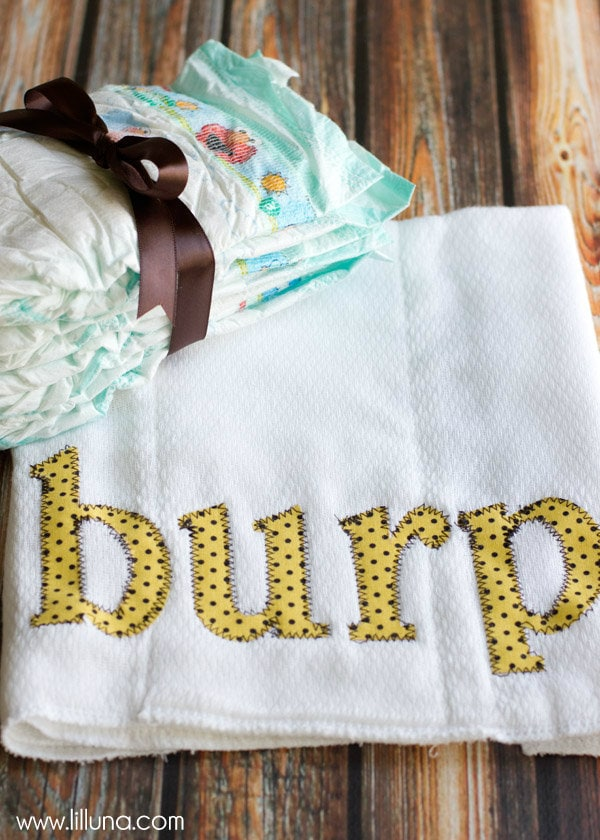How to make these DIY BURP Cloths for Baby! Super cute and easy and a great gift idea!