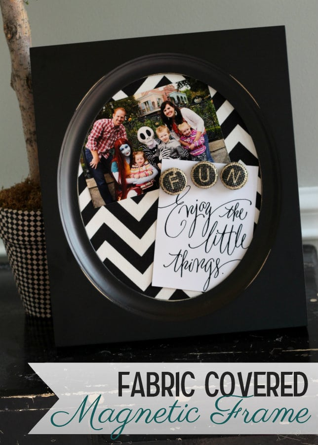 Fabric Covered Magnet Frames on { lilluna.com } Such a cute idea and would make a great gift!