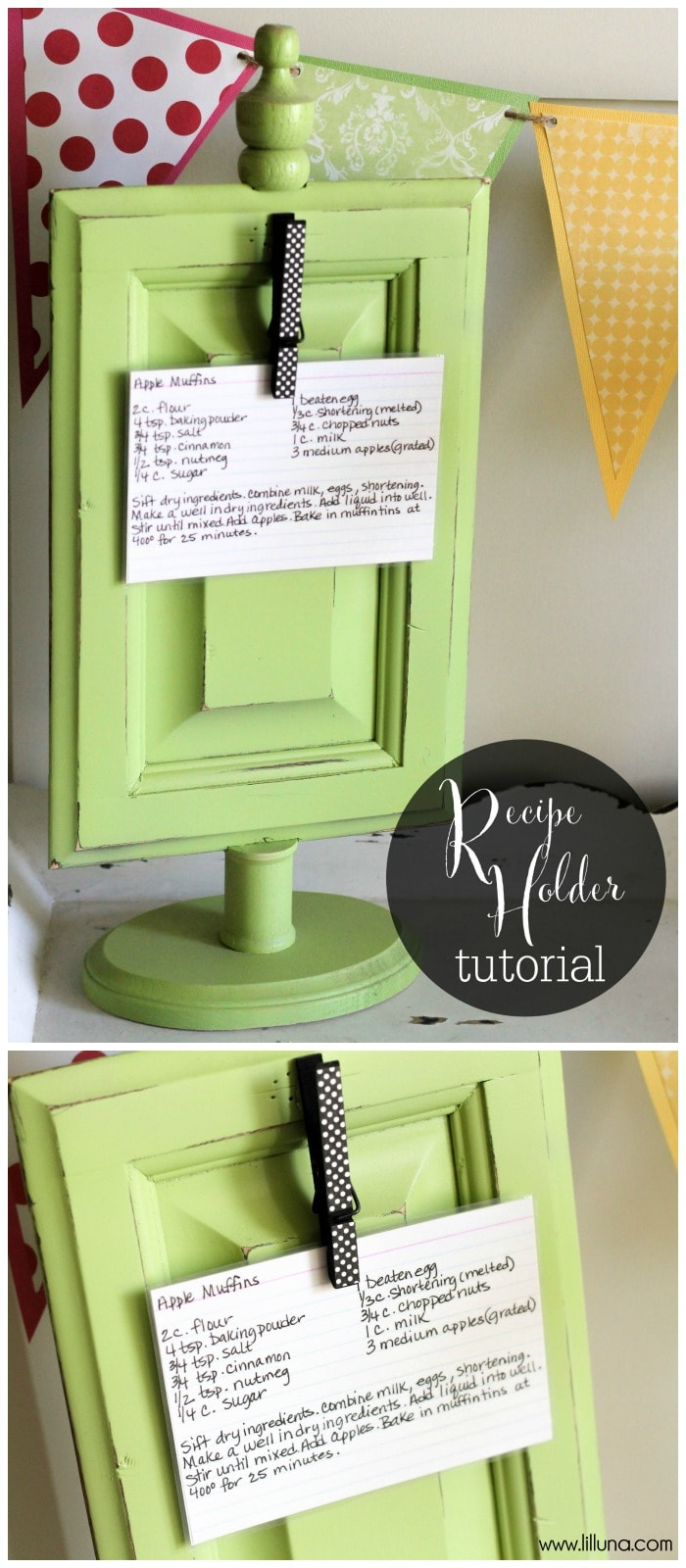 Super cute and easy Recipe Holder tutorial { lilluna.com } This is a great gift idea!!