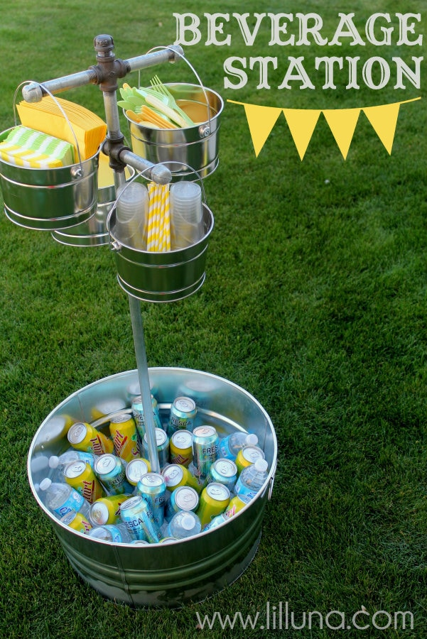 Beverage Station Tutorial on { lilluna.com } Easy and such a fun way to display all your party goods!