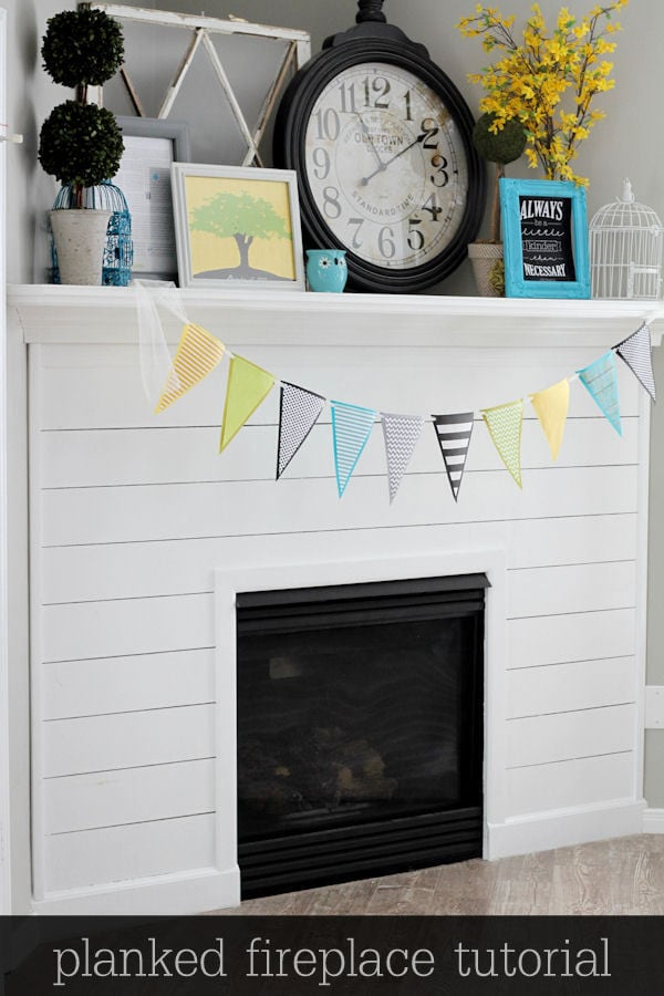 Beautiful Planked Fireplace Tutorial { lilluna.com } Such a great way to dress up your fireplace!!