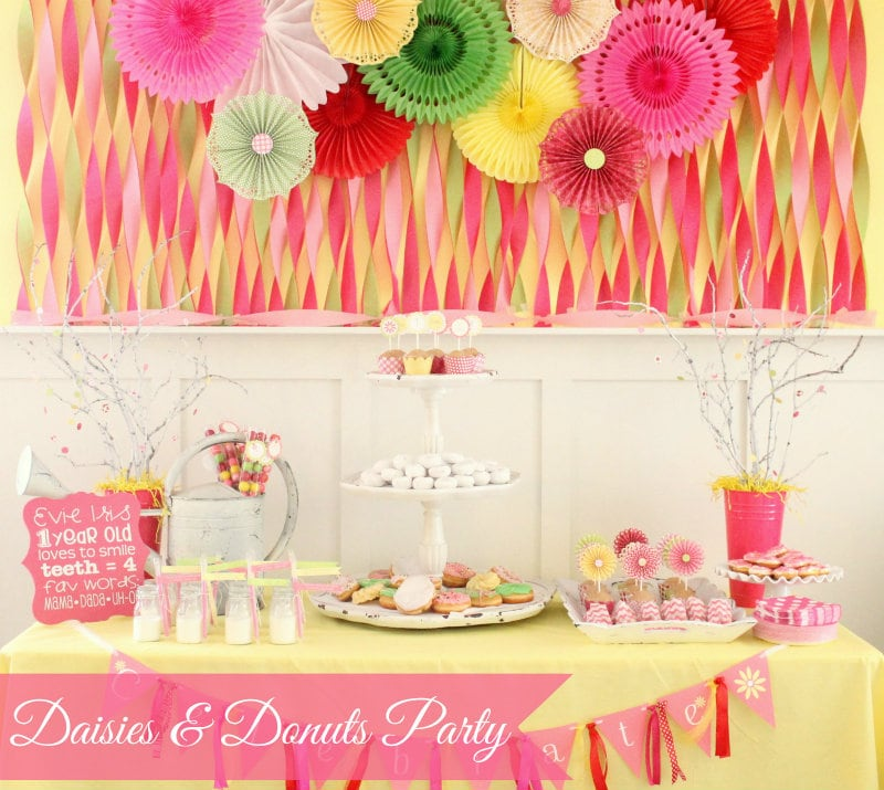 Super Cute Daisies and Donuts Birthday Party! { lilluna.com } Tons of pretty decorations and ideas!!