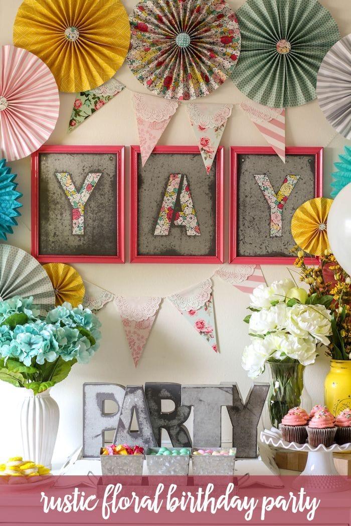Rustic Floral Birthday Party on { lilluna.com } Super cute ideas!