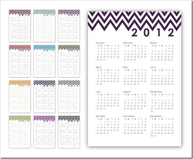 Cute Chevron Printable Calendar from Sprik Space!