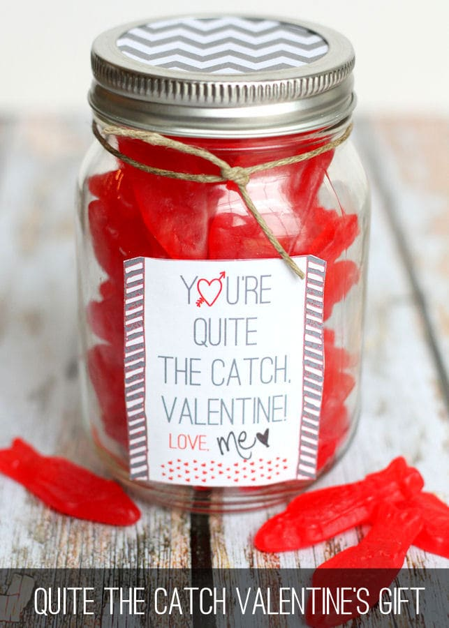 What a Catch Valentine Gift on { lilluna.com } Simple and adorable! Just fill with your fav treat!