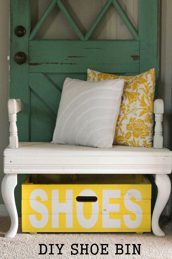 DIY Shoe Bin tutorial - the perfect place to store your shoes! { lilluna.com }