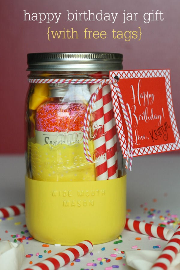 CUTE Happy Birthday Jar Gift with free tags on { lilluna.com } Simple idea, just fill with some fun goodies!