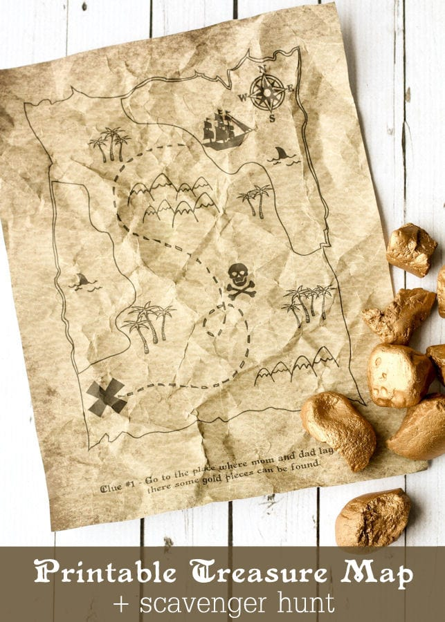 Printable Treasure Map Kids Activity - Free Coloring Pages and Scavenger Hunt { lilluna.com }