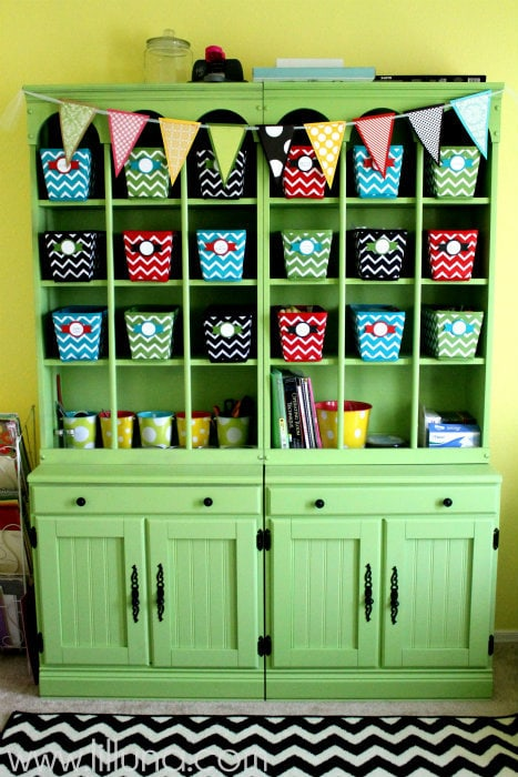 Craft Room Hutch Tutorial on { lilluna.com } Great way to organize all your craft items!!