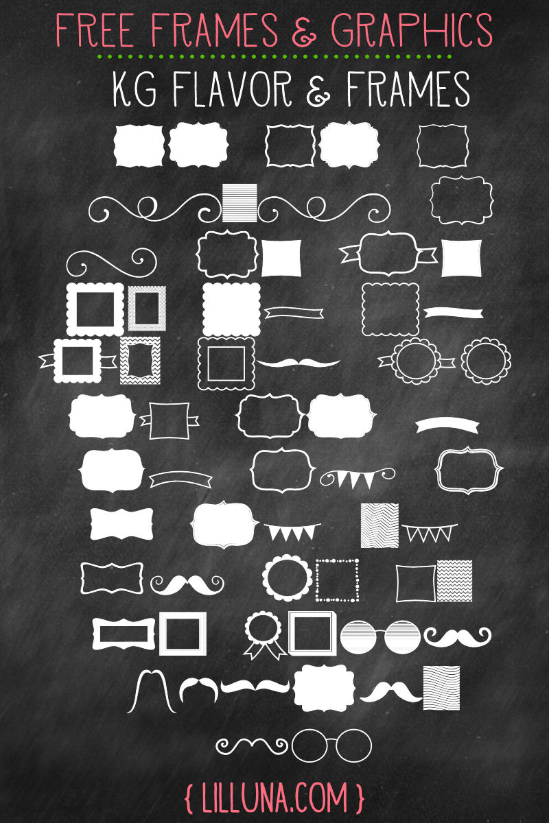 Free Frames and Graphics. LOVE these! { lilluna.com } Can be used for so many things!!