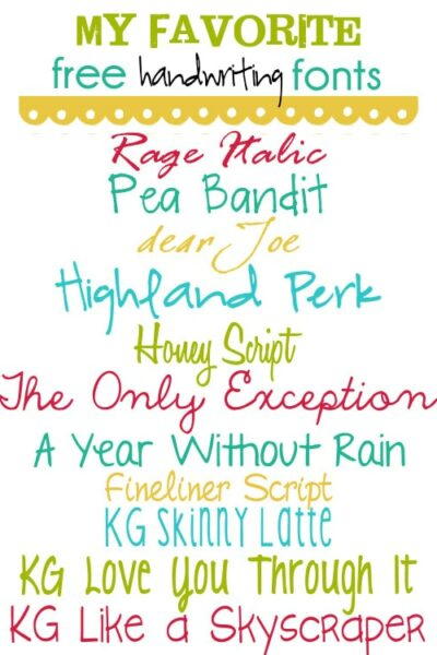 My Favorite Free Handwriting Fonts on { lilluna.com } Great fonts to use on so many things!!