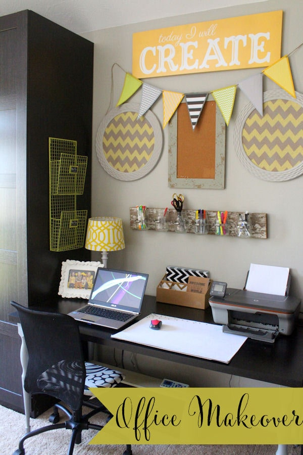 Super cute and easy Office Makeover { lilluna.com } Great ideas to help inspire your own makeover!