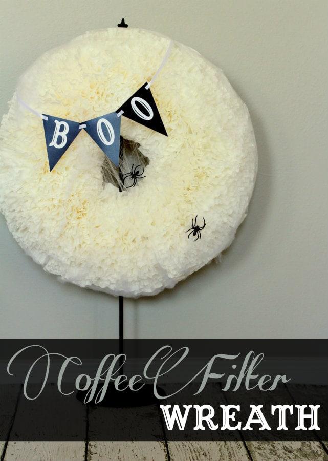BOO Coffee Filter Wreath tutorial on { lilluna.com } Love this spooky, yet cute wreath!!