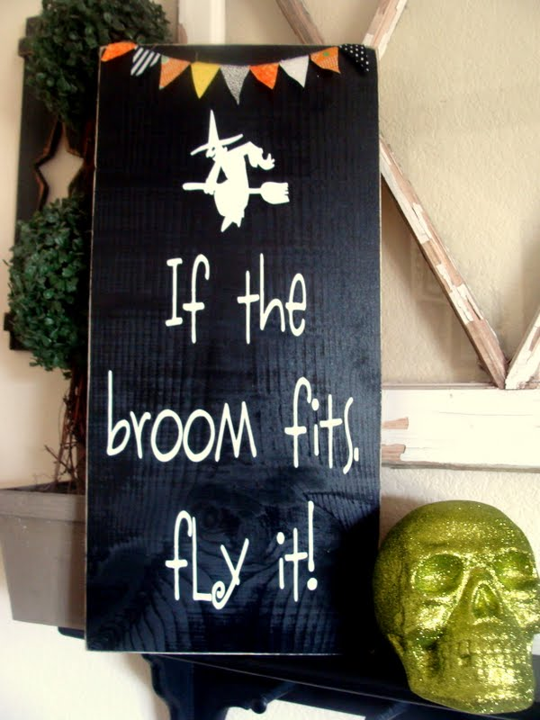 If the Broom Fits Sign Tutorial!! All you need is your vinyl and wood and some paint!