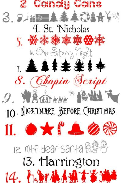 Favorite Christmas Fonts & Graphics! So many cute designs that can be used for so many things!
