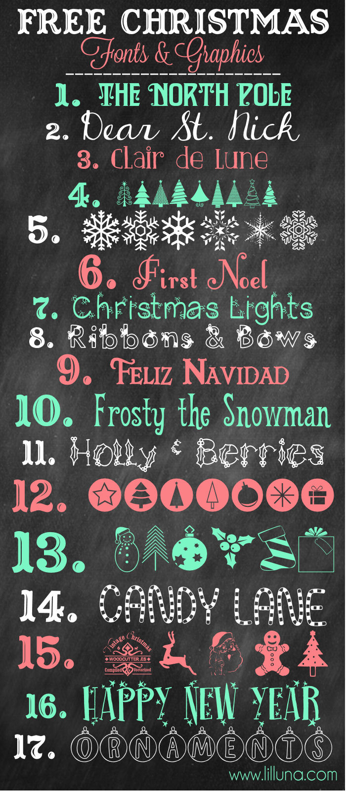 MORE Favorite Free Christmas Fonts and Graphics to download and use { lilluna