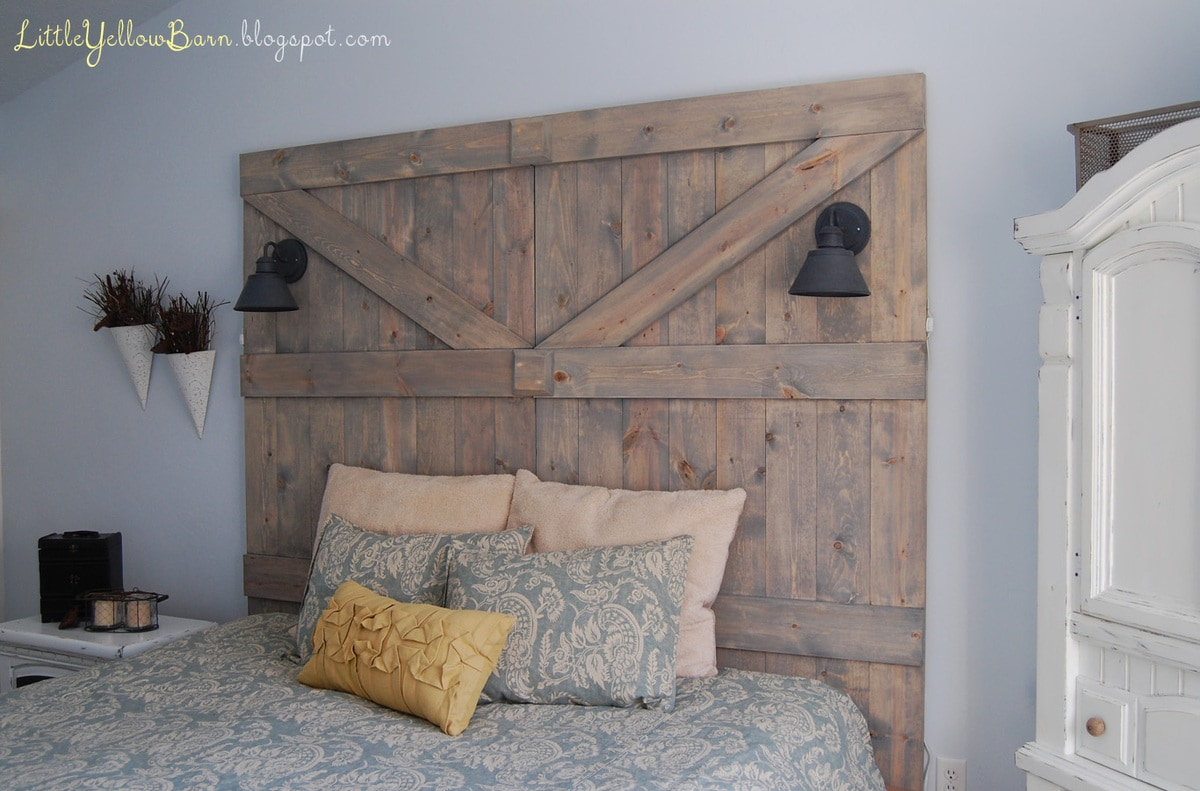DIY Barn Door Headboard Tutorial on { lilluna.com } So cute and pretty easy!