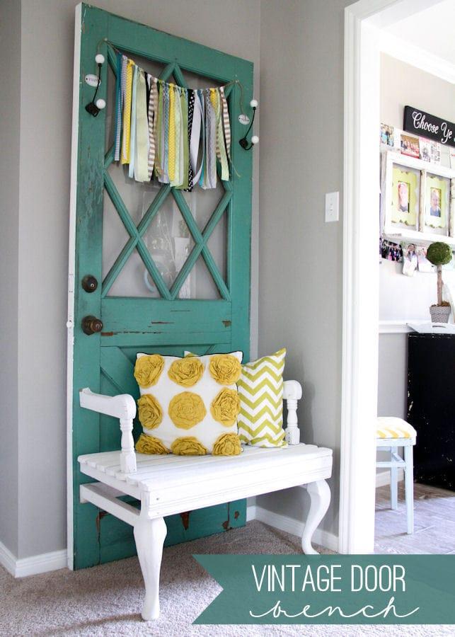 Beautiful Vintage Door Bench tutorial { lilluna.com } Few supplies needed to make this super cute door bench!!