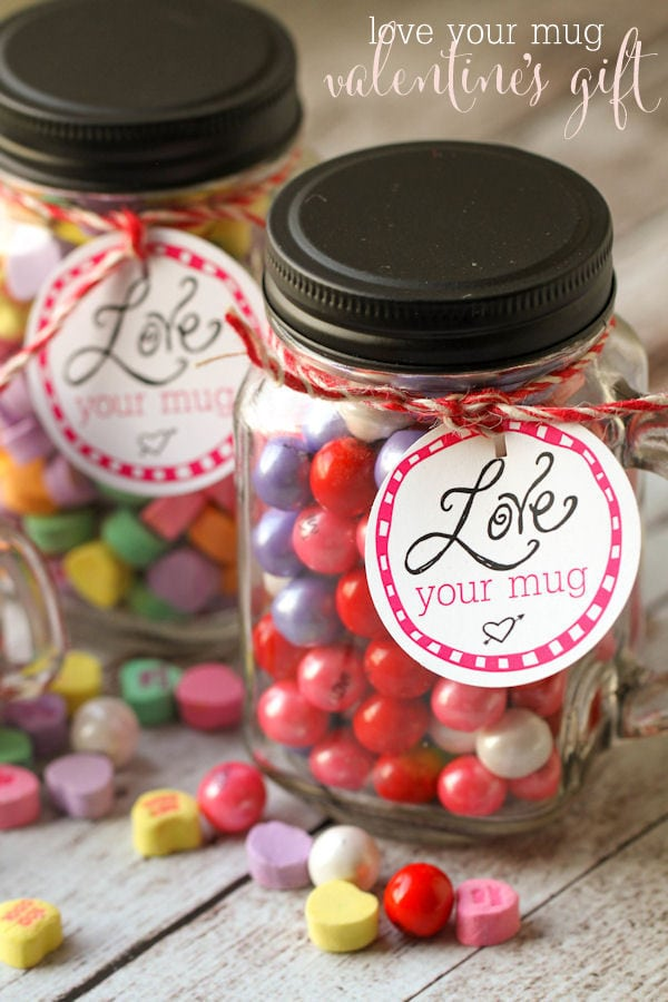LOVE your Mug Valentine's gift idea - free tags on { lilluna.com } Fill with Valentine's treats and you're set!
