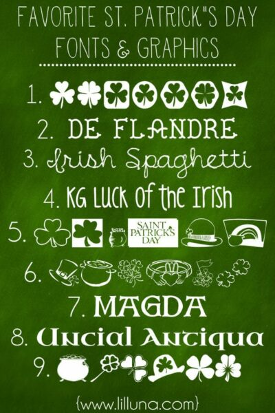 Favorite Free St. Patrick's Day Fonts and Graphics. These are perfect to use for printables!! List on { lilluna.com }