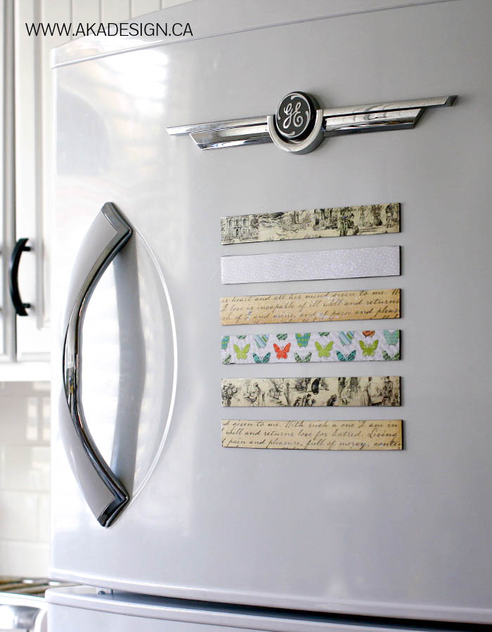 Super Cute, inexpensive and functional scrapbook magnets for the fridge! Tutorial on { lilluna.com } Few supplies needed, including magnetic tape, scrapbook paper, and mod podge.