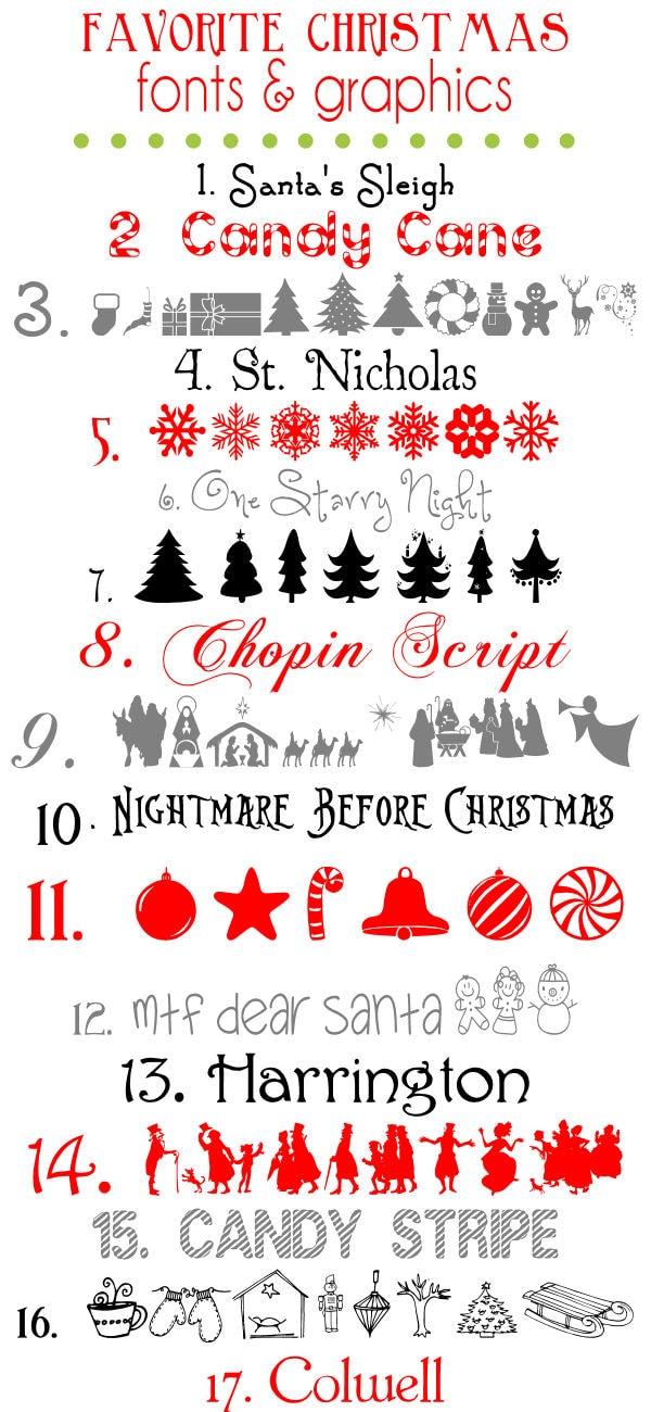 Favorite Free Christmas Fonts and Graphics { lilluna.com } Very festive!!