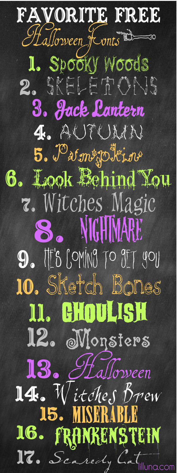 Favorite Free Halloween Fonts on { lilluna.com } Love these!! Use on so many things!