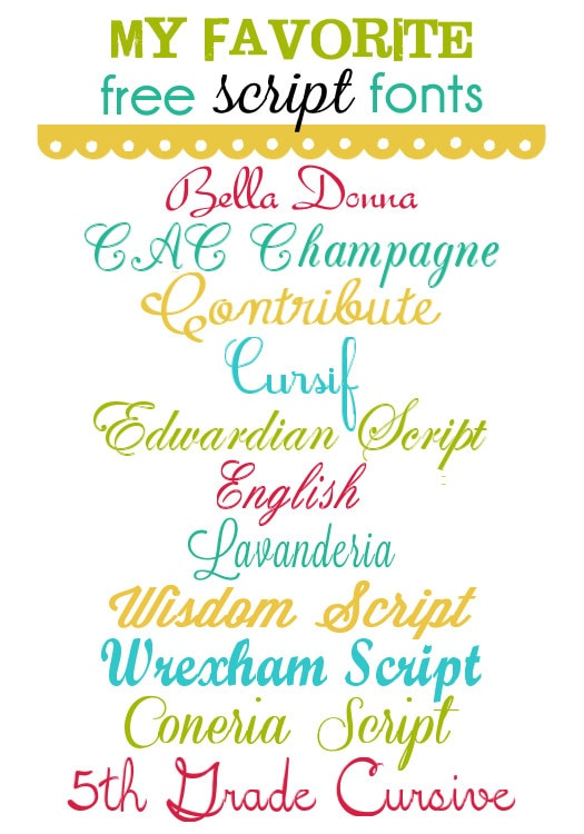 My Favorite FREE Script Fonts on { lilluna.com } Can be used for so many things!!