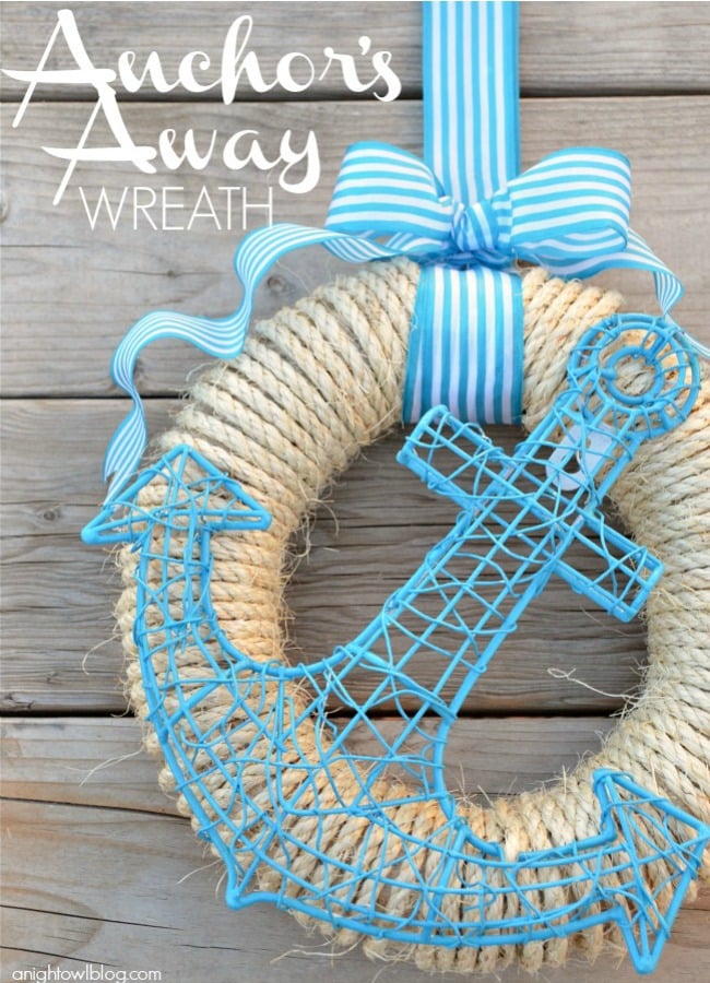 How cute is this Anchors Away Wreath! Tutorial on { lilluna.com } Simple to make and few supplies needed!