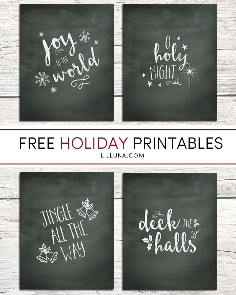 FREE Christmas Carol Chalk Prints - 4 versions to choose from. Download and Display these cute Christmas Printables in your home this year!