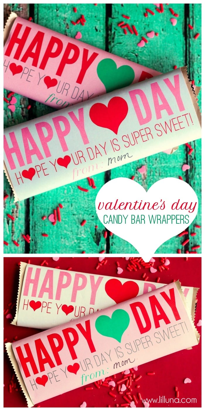 Adorable Valentine's Day Candy Bar Wrappers!! Free download on { lilluna.com }