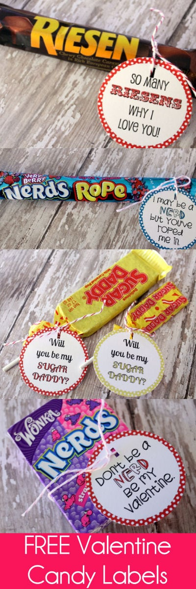 FREE Valentine Candy Labels on { lilluna.com } Such cute tags to add to your valentine's candy.