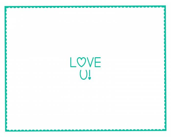 Valentine's Hand Print - LOVE YOU - Turquoise
