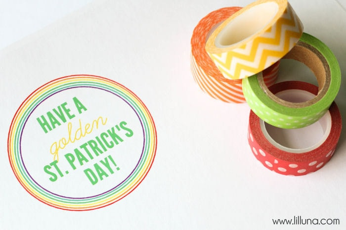 Cute and Easy St. Patrick's Day Gift idea with free print { lilluna.com } All you need is a jar, ribbon, label, washi tape, & rolos.