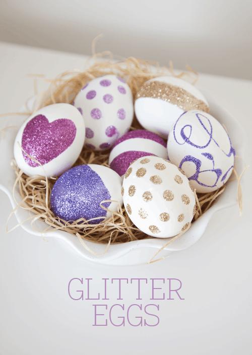 DIY Glitter Eggs Tutorial on { lilluna.com } So fun and cute!! Supplies include eggs, glue, & glitter!!