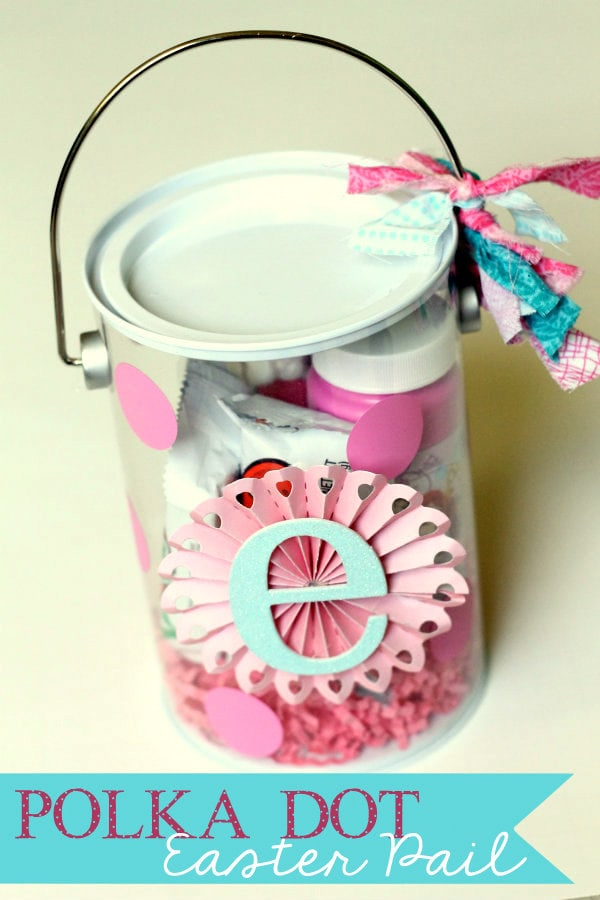 Cute and Easy Polka Dot Easter Pails with Initial { lilluna.com } Kids will love how cute these are!