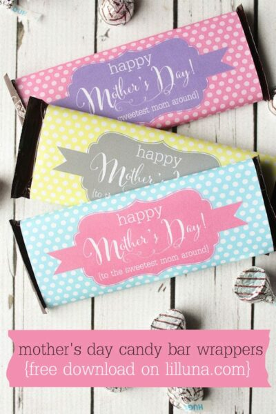 FREE Mother's Day Candy Bar Wrappers { lilluna.com } Cute and colorful wrappers to brighten any candy bar!
