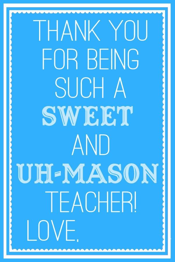 Sweet and Uh Mason Teacher Tags - Blue