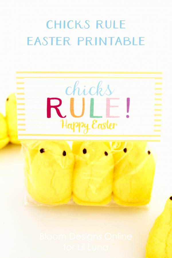 Super cute Chicks Rule Easter Printable on { lilluna.com } The perfect tag for your Easter gifts!