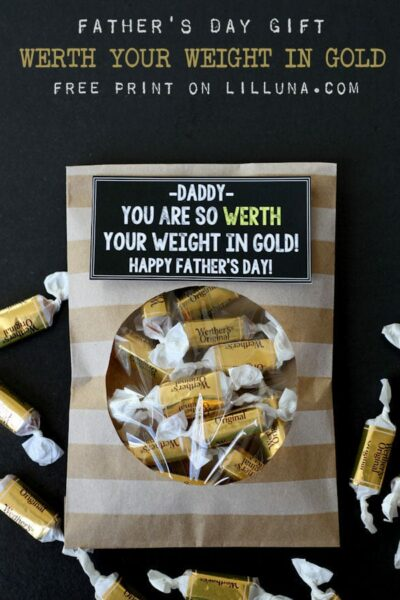 "Super cute and simple Father's Day Gift - ""WERTH"" Your Weight in Gold print on { lilluna.com }"