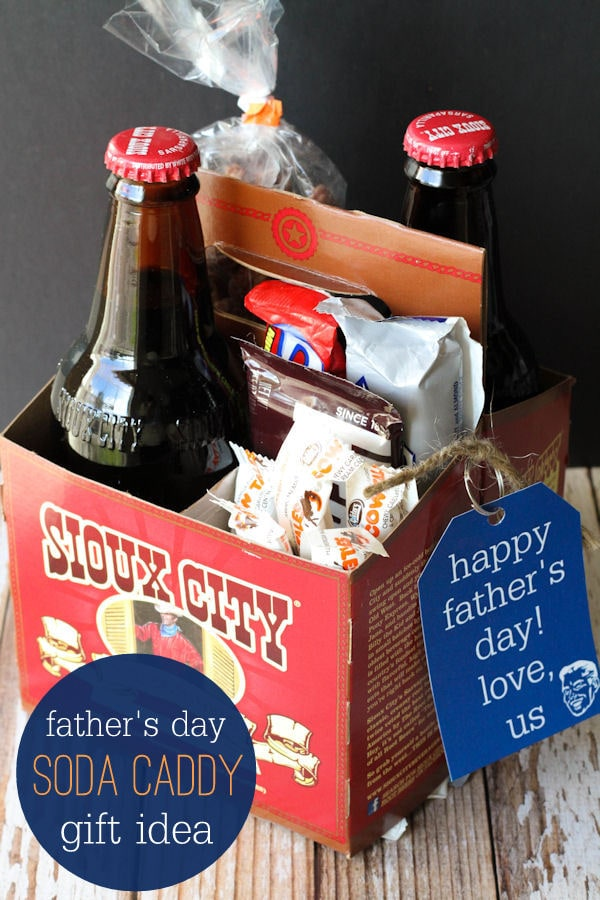 Father's Day Soda Caddy Gift idea with free prints on { lilluna.com } Such a cute idea that dad or grandpa will love - filled with yummy treats!