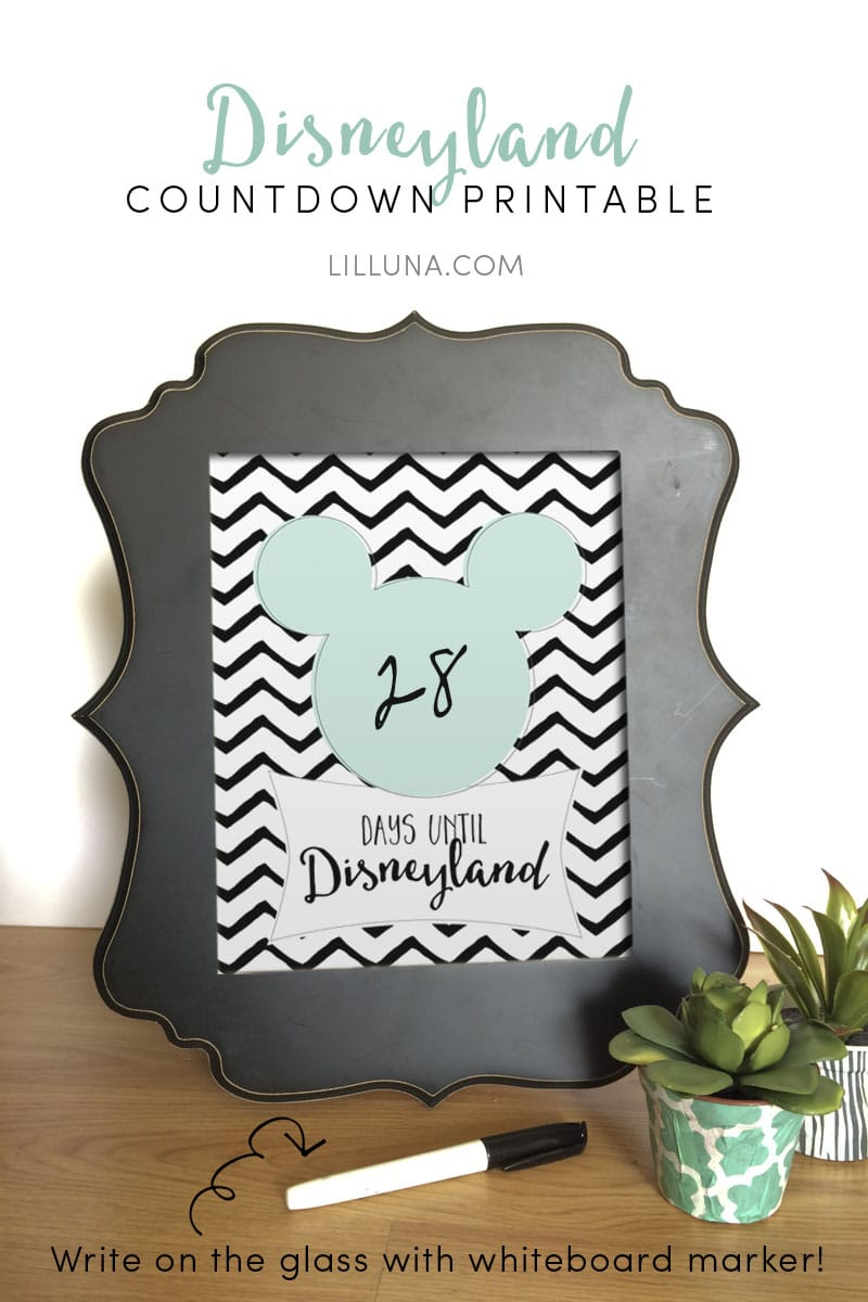 FREE Countdown to Disney Prints - for Disneyland AND Disneyworld. Head to { lilluna.com } for the free printables!