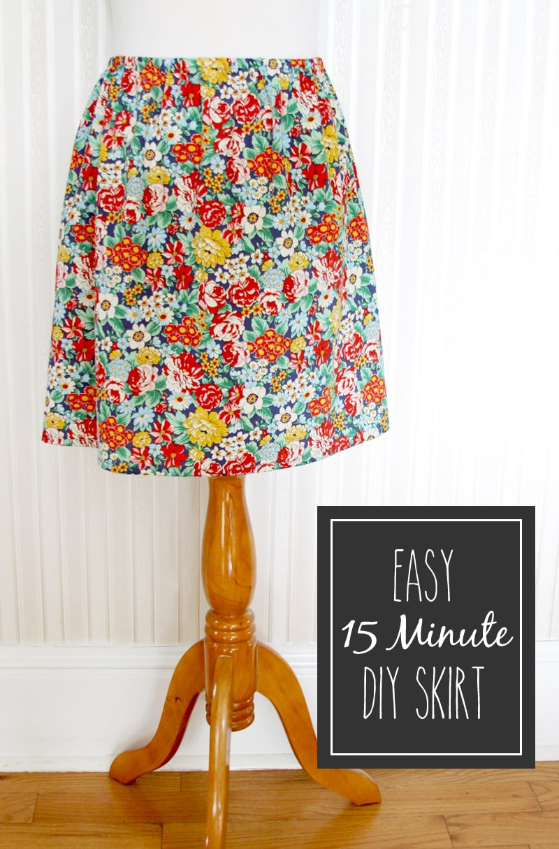 Easy 15 Minute DIY Skirt tutorial on { lilluna.com } Fabric and elastic and your basic sewing tools is all you need!