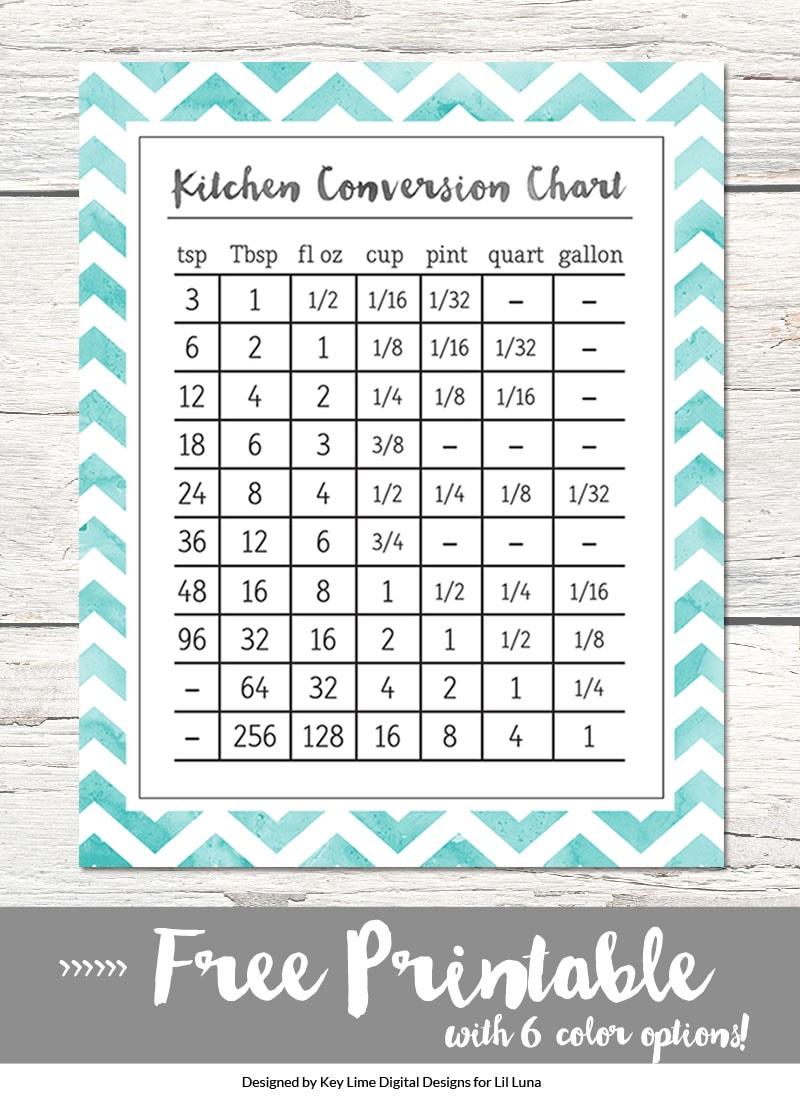 FREE Kitchen Conversion Charts Print - available in 6 colors. Download at { lilluna.com }