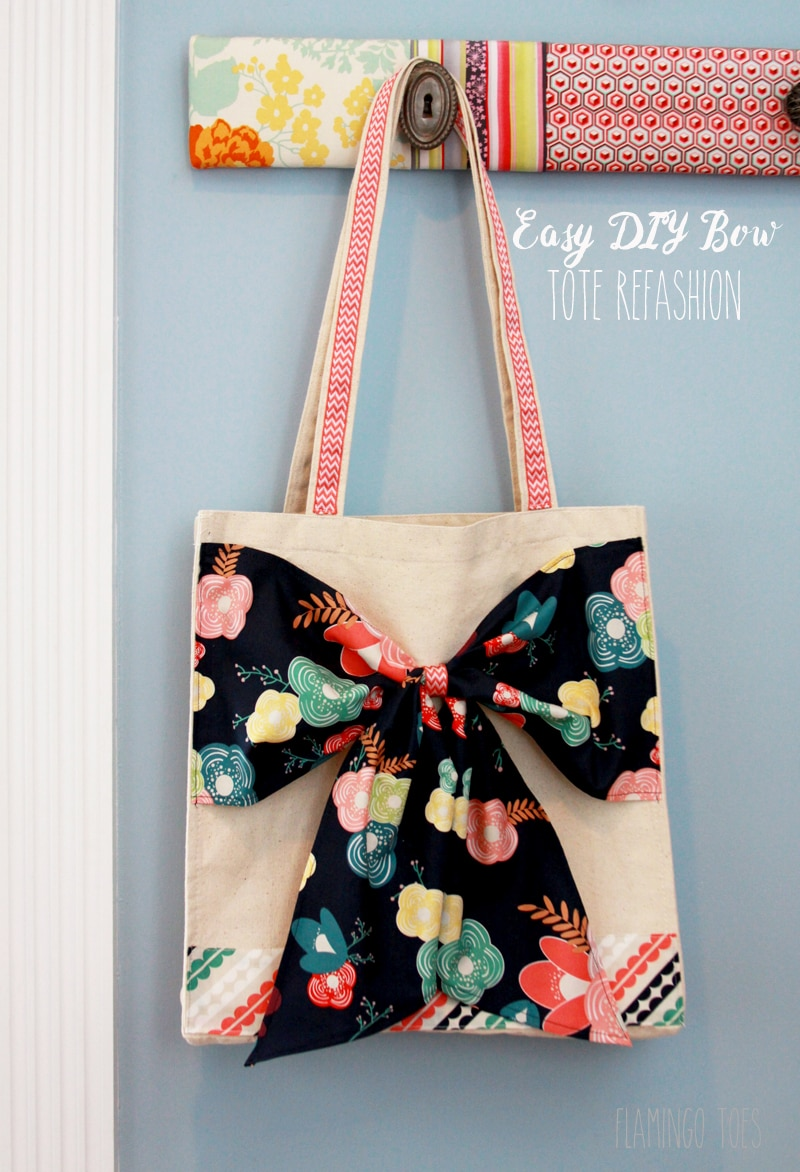 Easy DIY Bow Tote Tutorial - SO cute and simple. And such a great gift idea!! { lilluna.com } All you need is a canvas tote, ribbon, and coordinating fabric.