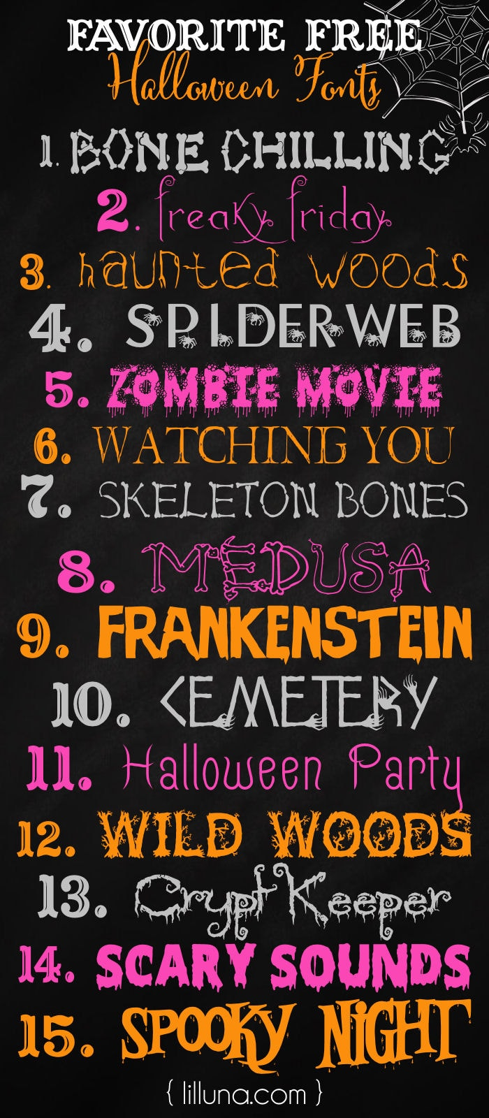 FREE Halloween Fonts - so many great ones to use in your own creations on { lilluna.com }