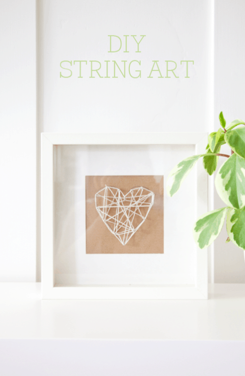 DIY String Art Tutorial on { lilluna.com } So simple and cute! Supplies needed - string, pins, cardboard, a pencil, and a shadow box frame.