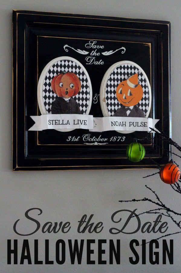 Cute Save the Date Halloween Sign! Tutorial on { lilluna.com } Easy to make and is a great decor idea!