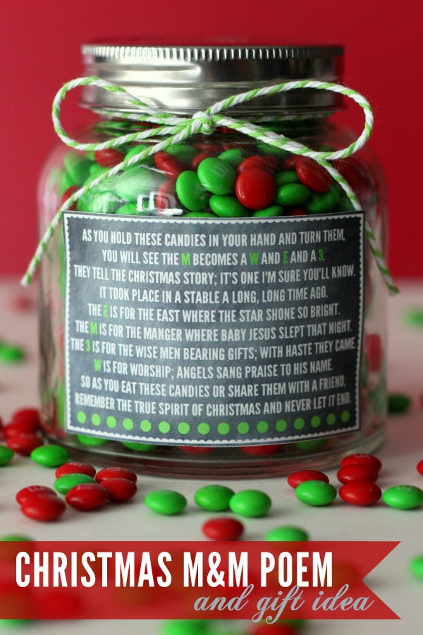 Christmas M&M Poem and Gift Idea - cute and simple! { lilluna.com } All you need is a jar and ribbon and you're ready to fill with a yummy treat!