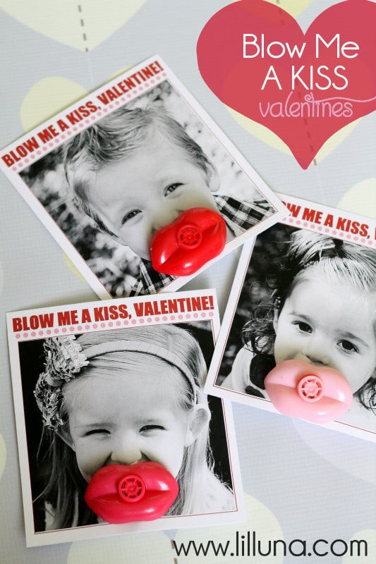 Blow Me A Kiss Valentines. LOVE these! Free prints on { lilluna.com } Such a cute idea!!